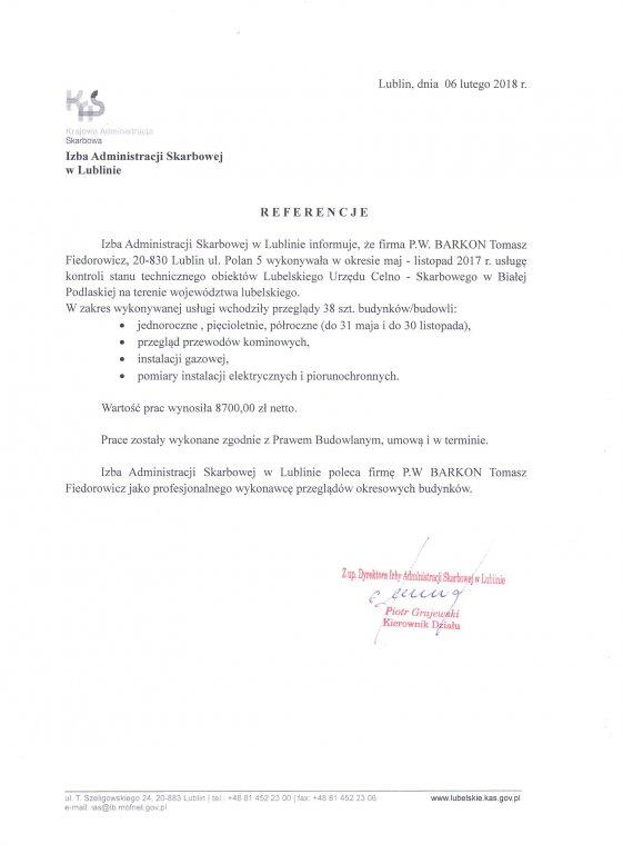 Referencje Krajowa Administracja Skarbowa 2017
