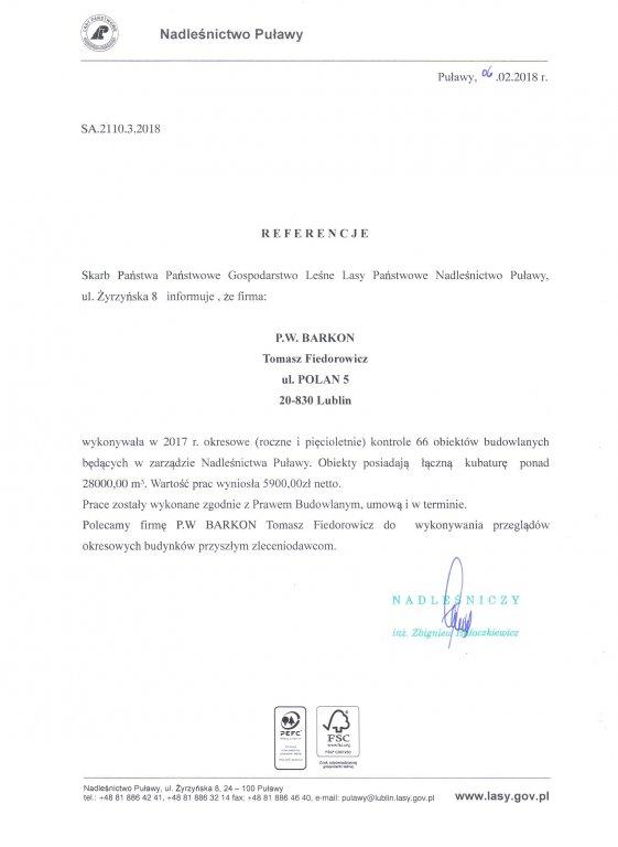 Referencje Nadleśnictwo Puławy 2017
